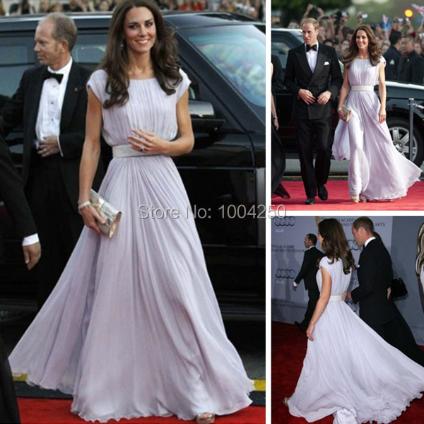 Tireless Kate Middleton Straight Column Bateau Pleat Short Sleeve Violet Chiffon Red Carpet Celebrity/prom Dresses With Beading Belt Celebrity-inspired Dresses