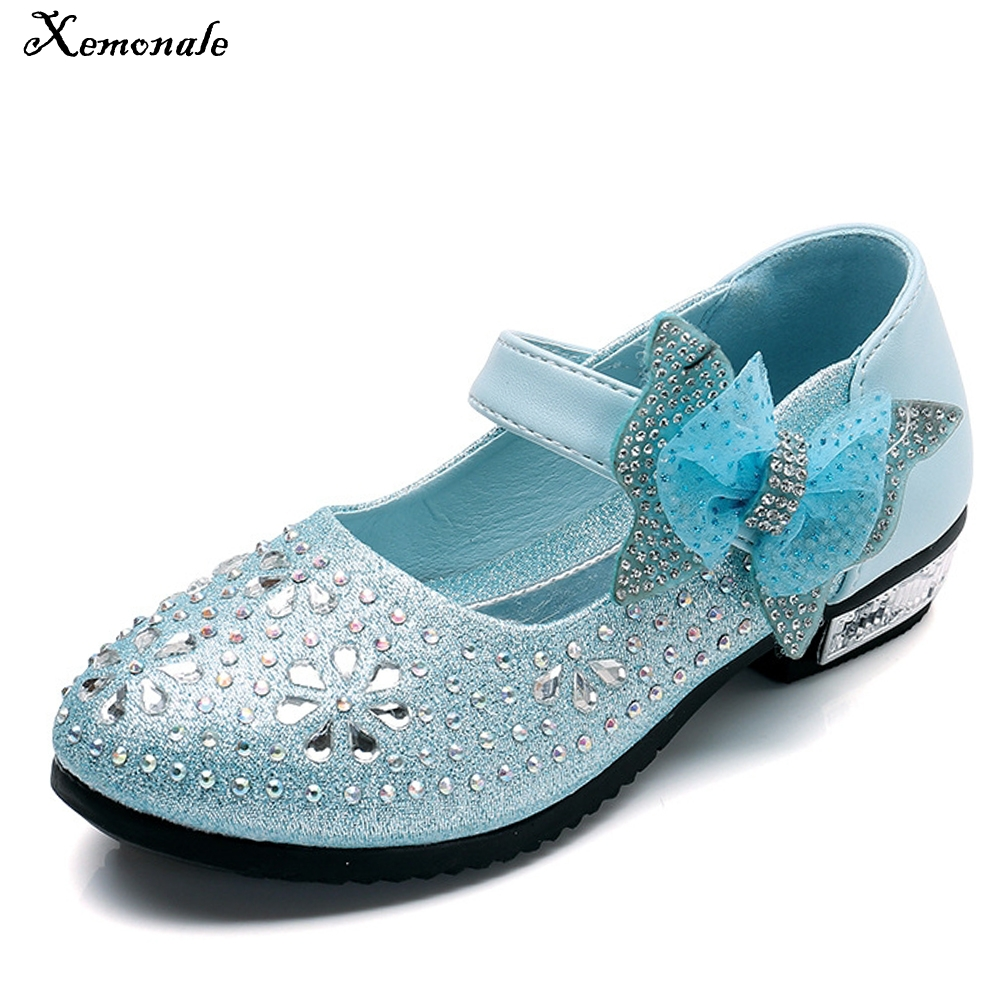 Xemonale 2018 Childrens Princess Shoes Fashion Girls Single Leather Shoes Bow Small Heels Shoes Party Shoes.