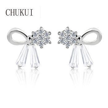 CHUKUI Bowknot Crystal Earrings Female CZ Earings Korean Fashion Jewelry Ear Rings Silver Sterling 925 Bulk for Summer