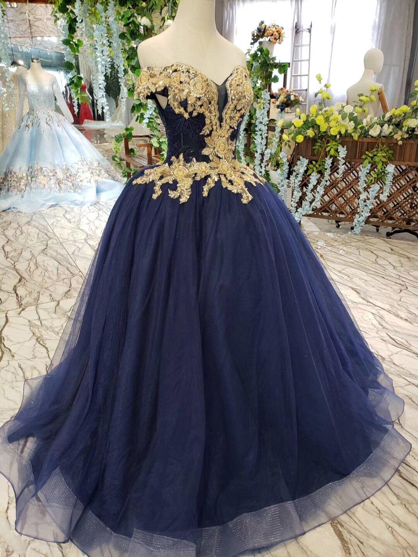 2019 longueur de plancher hors de l'épaule or perlé broderie corsage scintillant bleu marine jupe longues robes de bal - 5
