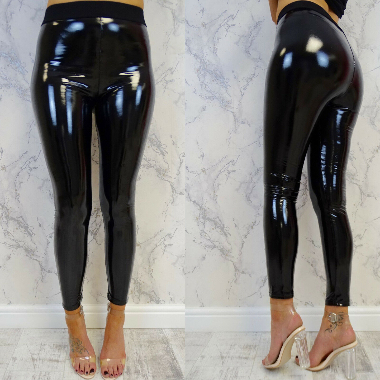 Women Ladies Vinyl PVC Wet Look Shiny Disco Slim Soft Stretchy Faux Leather Elasticated High Waist Leggings Pencil Pant image