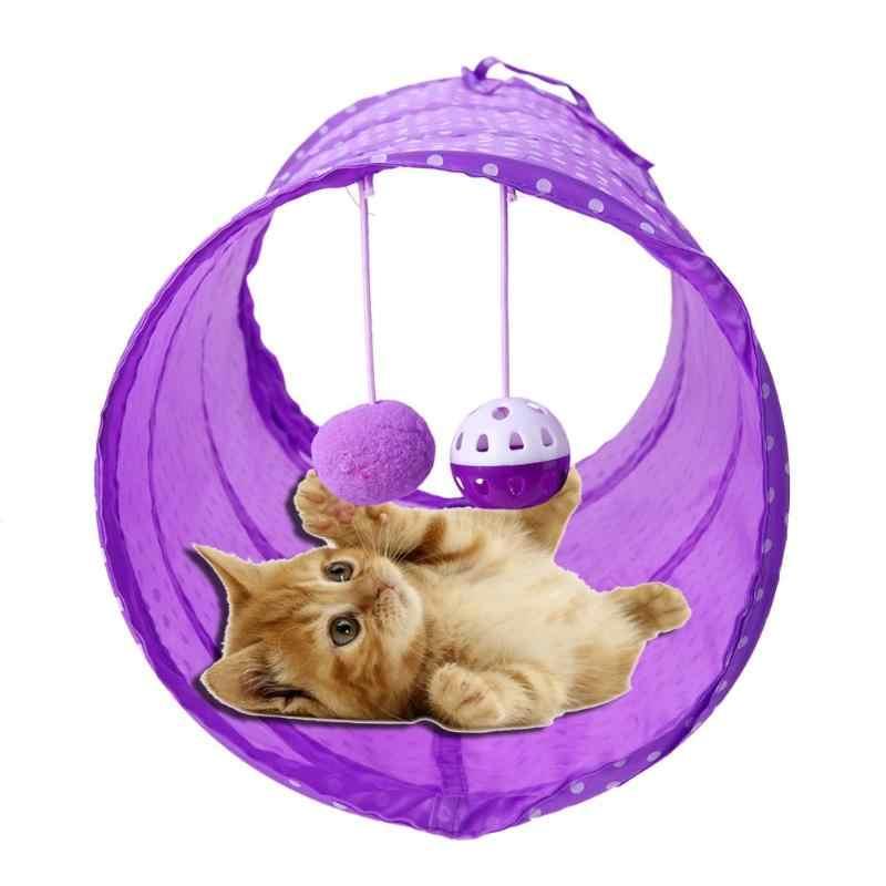 접을 수있는 재미 있은 애완 동물 고양이 놀이 터널 튜브 공을 가진 2 개의 구멍 새끼 고양이 강아지 토끼 놀이 터널 침대 장난감 고양이 자연 개박하 장난감