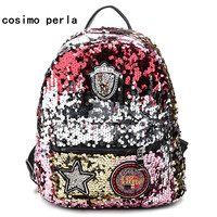 Shiny Magic Reversible Sequin Backpacks For Girls Gift Mini Travel Shoulder Bag Hit Color Cute Women