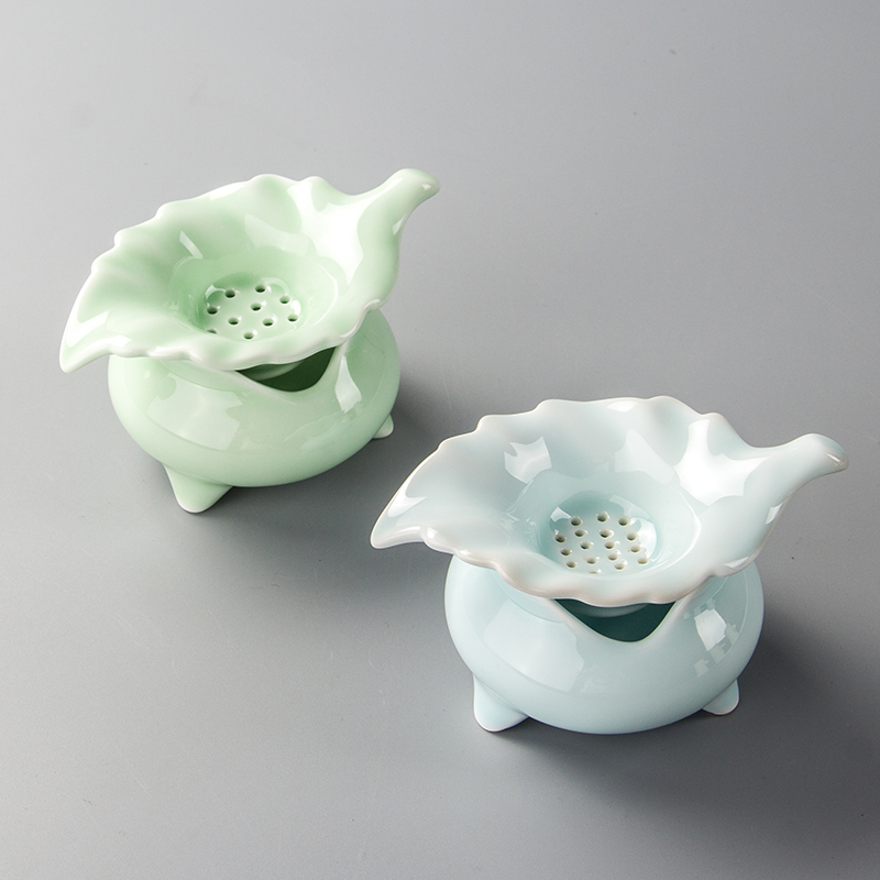 Tea Strainer Leaf Tea Leaf Porcelain Kung Fu Tea Set Celadon Tea Filter Infusor D017