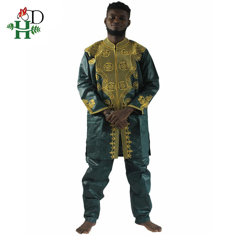 H&D African Men Clothing Mens Clothes Dashiki African Riche Bazin Tops Pant Set Male Outfit Set Suits PH37