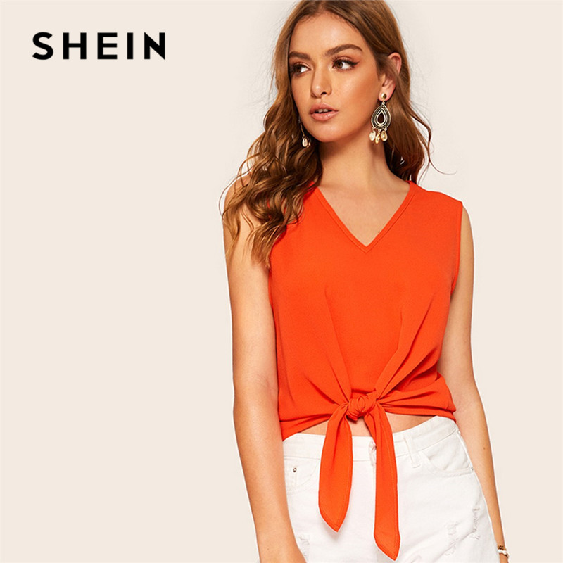 SHEIN Neon Orange Knot Front   Tank     Tops   Women Summer V Neck Solid Weekend Casual Asymmetrical Hem Ladies   Tops   Woman Clothes