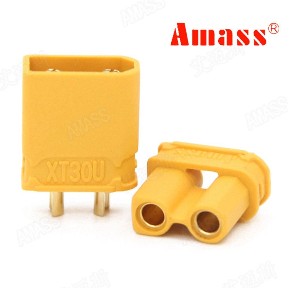 10 pares/lote amass xt30u xt30 macho fêmea bala conector plug de banhado a ouro para rc lipo bateria