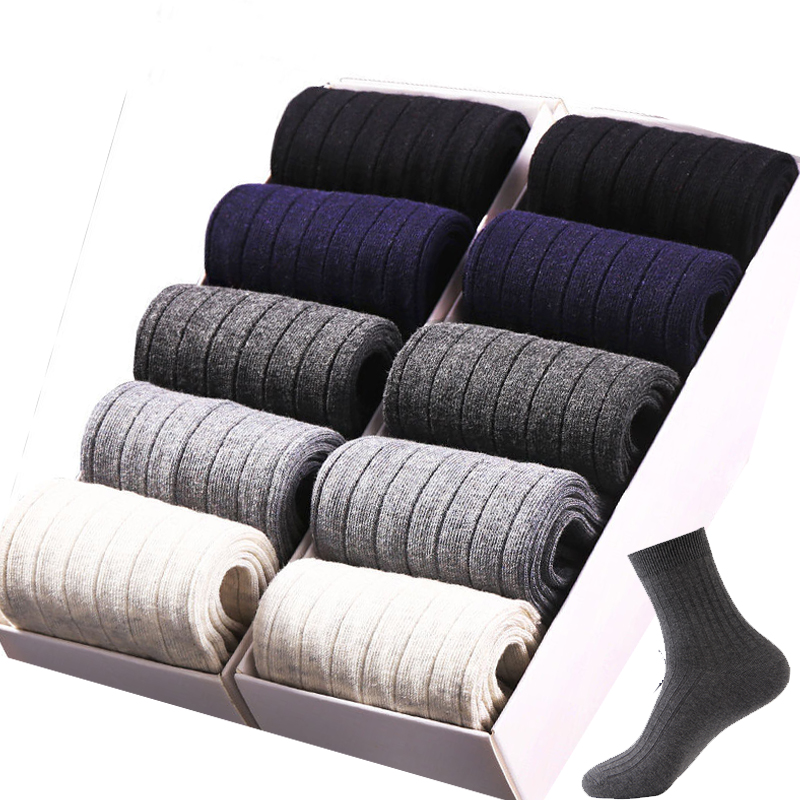 Men's Combed Cotton Breathable Business Socks Plain Striped Casual Dress Socks For Men 10pairs/lot Size:39-44 Sox Shoes Seasons