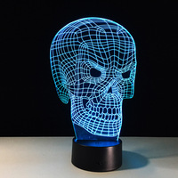 Skeleton 3D LED Lamp 7 Color Change 3D Night Light Colorful Skull Table Lamp For Holiday