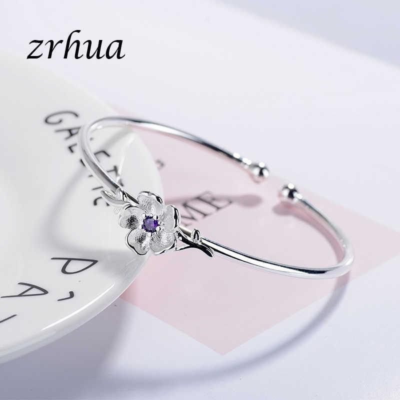 ZRHUA Высококачественный Браслет из стерлингового серебра 925 пробы и браслет, регулируемый, подходит для оригинальной женщины, красивое Ювелирное Украшение с фианитом для свадьбы