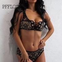 Pfflook Brand Sexy Lace Print Two Pieces Women Maillot De Bain Swim Suit Top Bandage Beach