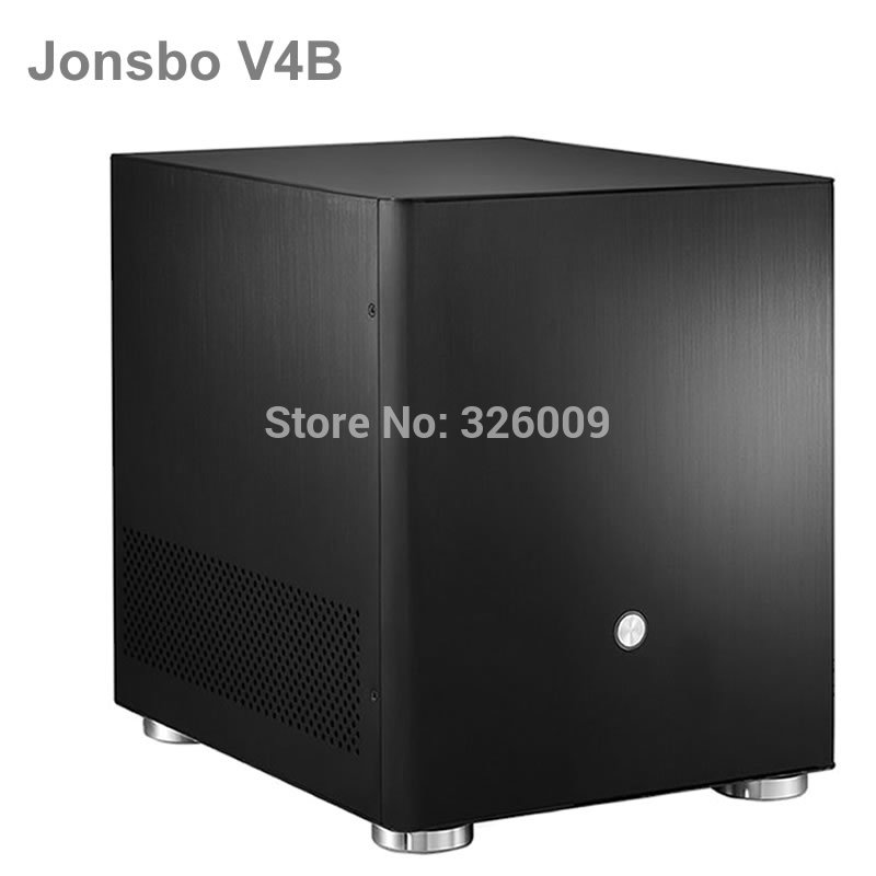 Original Jonsbo V4B V4 Black, HTPC case  MATX with All Aluminum 1.5mm, 3.5'' HDD, USB3.0 5Gbps, PCI Slot, other V2, V3+, C2 realan industrial high quality oem mini htpc desktop case e i7 with power supply cd rom expansion slots aluminum black silver