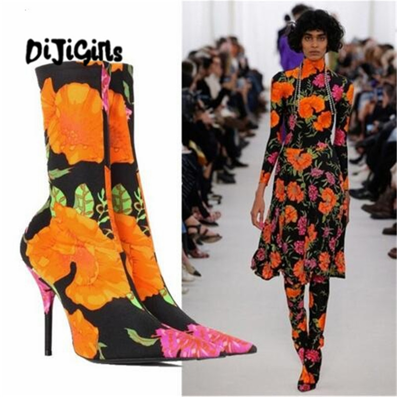 Floral Stretch Fabric Women Sock Boots Pointed Toe Mid-Calf Women Boots Brand Design High Heel Women Boots 44 Size fonirra women mid calf stretch fabric sock boots pointed toe sexy brand design high heel women winter boots ladies shoes 670