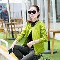 2015 nuevo estilo de la primavera otoño mujer chaquetas forman la capa delgada del diseño del cortocircuito del o-cuello chaquetas Hot Sale para mujer del Color del caramelo escudo XXL
