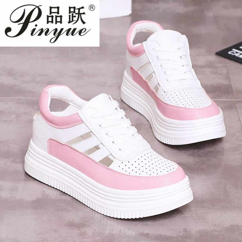 2019 Women Summer Casual Platform Shoes Fashion High Heels Woman Wedges Sneakers Shoes   Heigh Increasing Outdoor Hollow Shoes