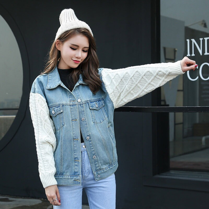 New Winter Casual Boyfriend Style Women Denim Stitching Sweater Sleeve Coat Girls Loose Warm Outwear Denim   Basic     Jacket   coats