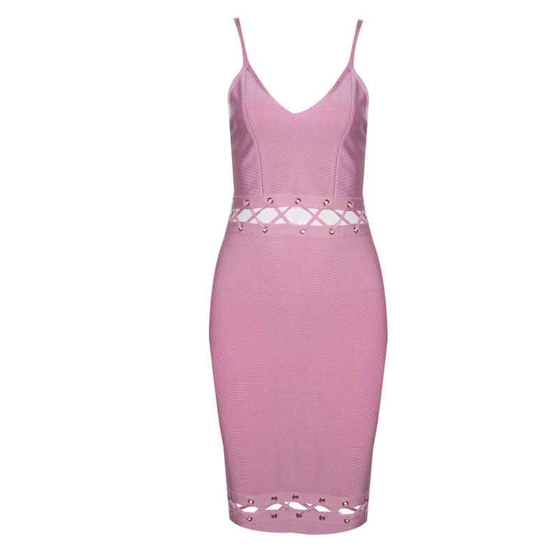 Сексуальное открытое Бандажное платье Vestidos на бретельках с v-образным вырезом, летнее платье, повседневные Коктейльные Вечерние платья, облегающая одежда для клуба
