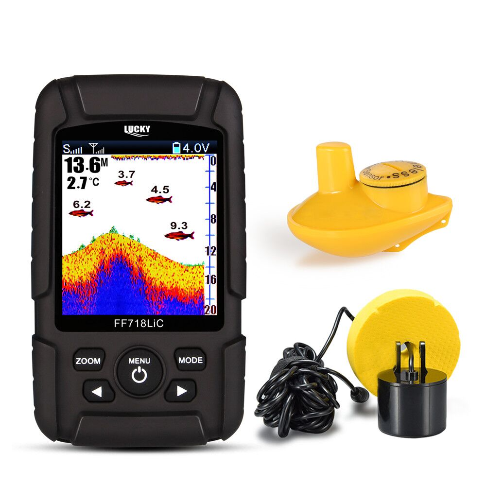 Suerte FF718LiC 328ft/100 m de profundidad Fishfinder Sonar transductor 2-en-1 Cable & Wireless Sensor portátil impermeable buscador de peces
