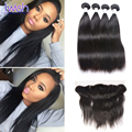 Iwish Hair Peruvian Straight Virgin Hair With Frontal Peruvian Straight Virgin Hair With Closure All Human Hair Tangle Free 1B