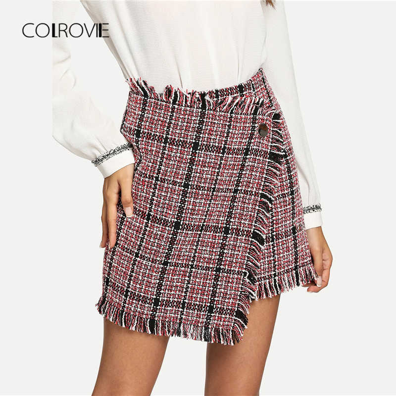 9114b3b1dd92e3 COLROVIE Asymmetric Wrap Plaid Elegant Vintage Skirt 2018 Autumn Sexy Girls  Skirts Womens Winter Streetwear Ladies