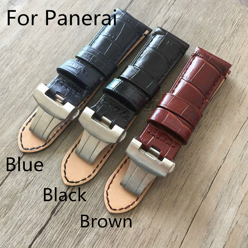 New  PAM 24mm  Vintage Brown Genuine Leather Watchband Strap Bracelet With Butterfly Buckle Clasp For PAM/Panerai With Logo new arrive top quality oil red brown 24mm italian vintage genuine leather watch band strap for panerai pam and big pilot watch