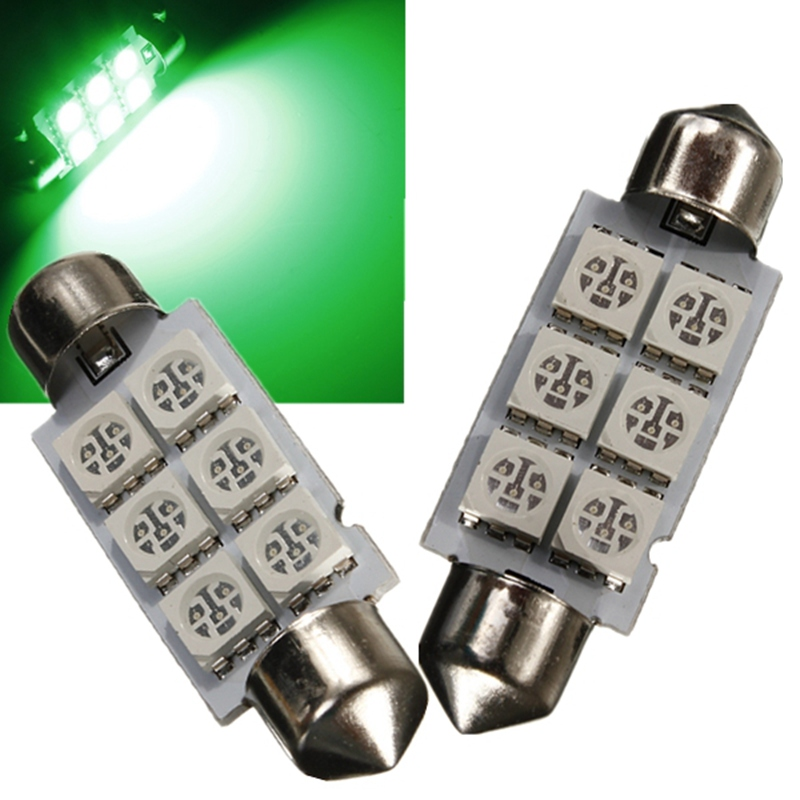 High Quality Green DC12V 42MM 6 SMD 5050 LED Green Car Auto C5W Dome Festoon Light Roof Map Bulb Lamp 2pcs brand new high quality superb error free 5050 smd 360 degrees led backup reverse light bulbs t15 for jeep grand cherokee