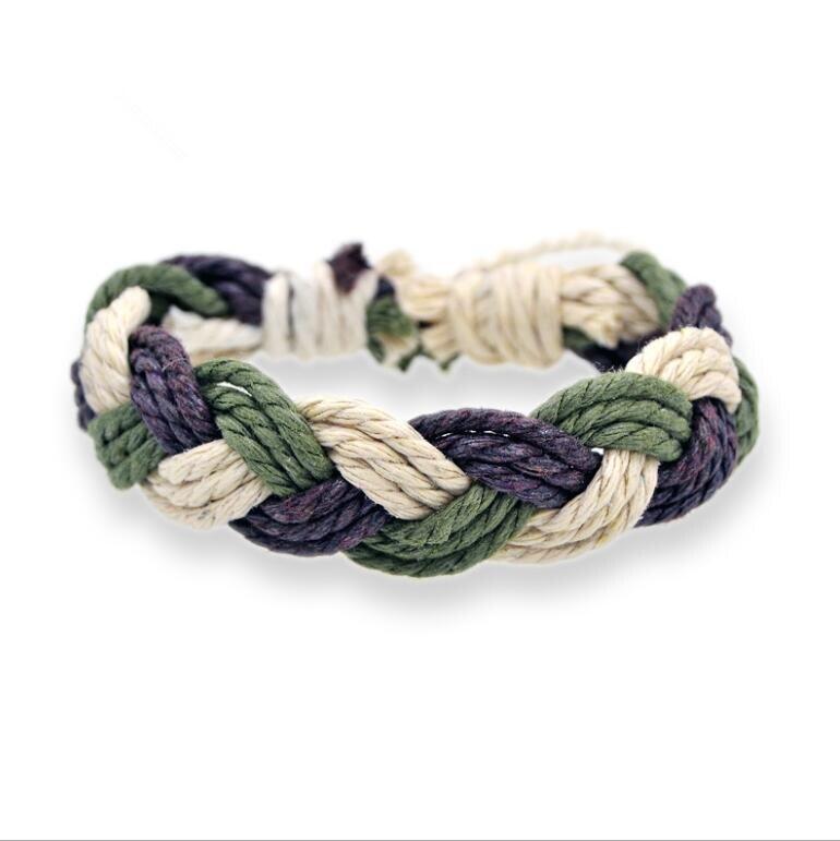 Best selling mão-tecido pulseiras de corda de algodão e linho cor corda trançada à mão jóias eólica nacional
