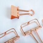 5Pcs/Lot Solid Color Rose Gold Metal Binder Clips Notes Letter Paper Clip School Office Supplies 007
