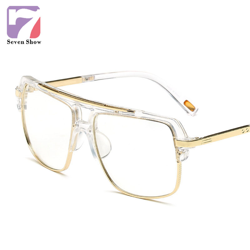Luxury Eye Glases Frames For Men Oversized Gold Clear Lens