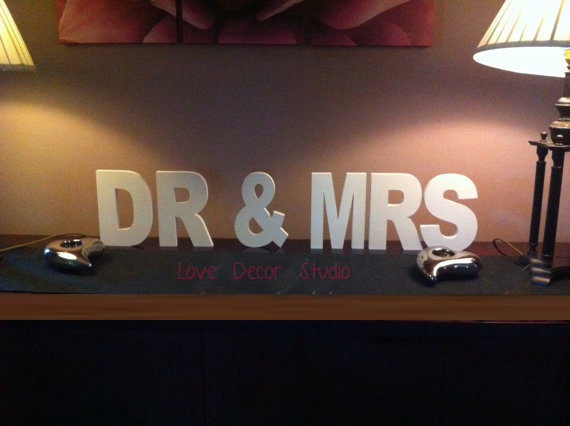 free shipping Custom Wooden pvc Wedding Letters - Hand-painted - DR & MRS - 5.9
