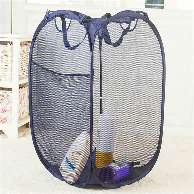 daf18f9ef160 US $8.66 |1 Pc Foldable Mesh Laundry Basket Bathroom Laundry Bag Dirty  Clothes Sundries Storage Baskets High Quality 2 Colors EJ976432-in Storage  ...