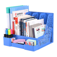 Multi Function 4 Slots Pen Holder 2 Drawer Magazine Crate Organizer Document Rack Office School Home