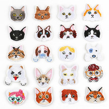 DOUBLEHEE Cartoon Many Cat Dog Animal Patches Embroidered Iron On Patch For Clothing Sticker Paste Clothes Bag Pants