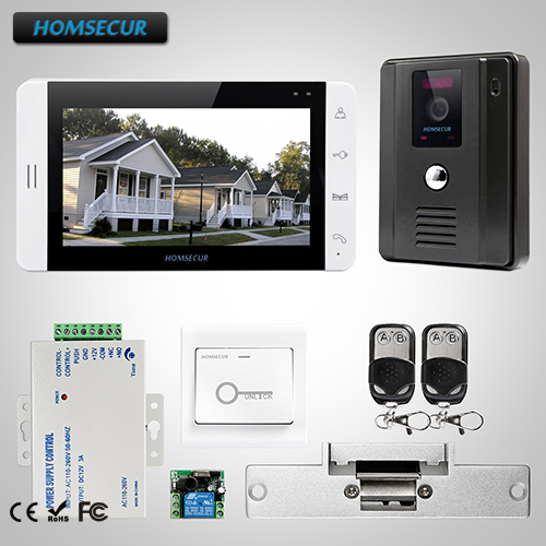 HOMSECUR 7 Wired Hands-free Video&Audio Home Intercom with Monitor L1:TC011-B Camera(Black)+TM703-W Monitor(White)+LockHOMSECUR 7 Wired Hands-free Video&Audio Home Intercom with Monitor L1:TC011-B Camera(Black)+TM703-W Monitor(White)+Lock