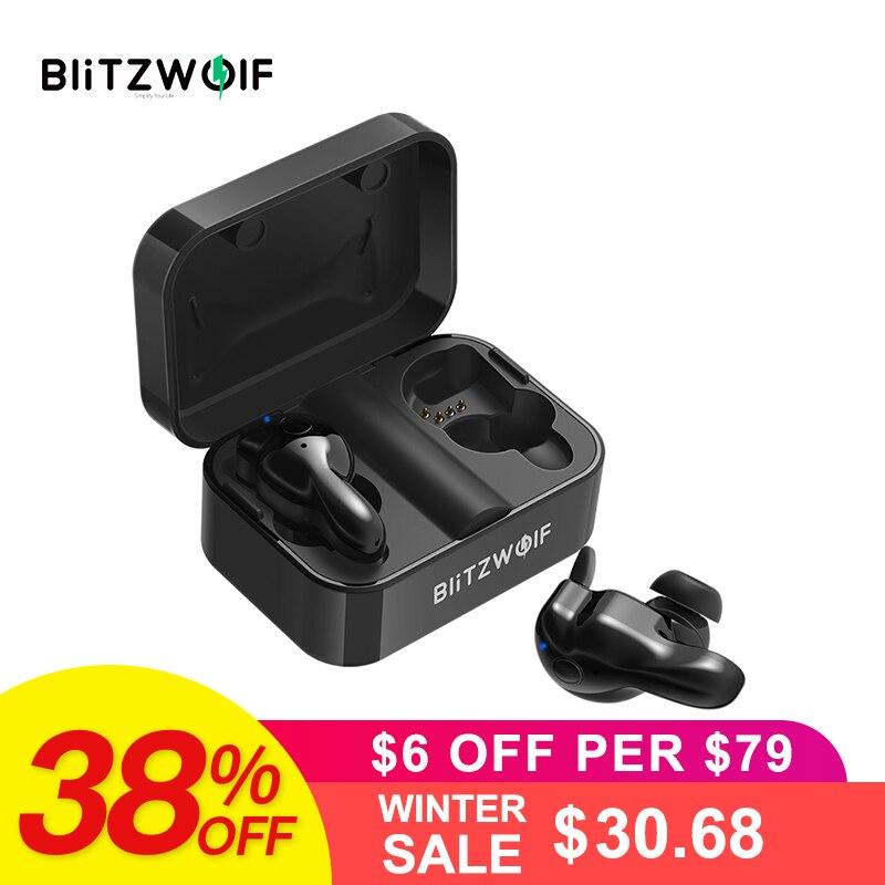 Blitzwolf Bluetooth V5.0 СПЦ Беспроводной наушники стерео наушники Водонепроницаемый микрофон спортивные наушники с зарядки коробка для телефона