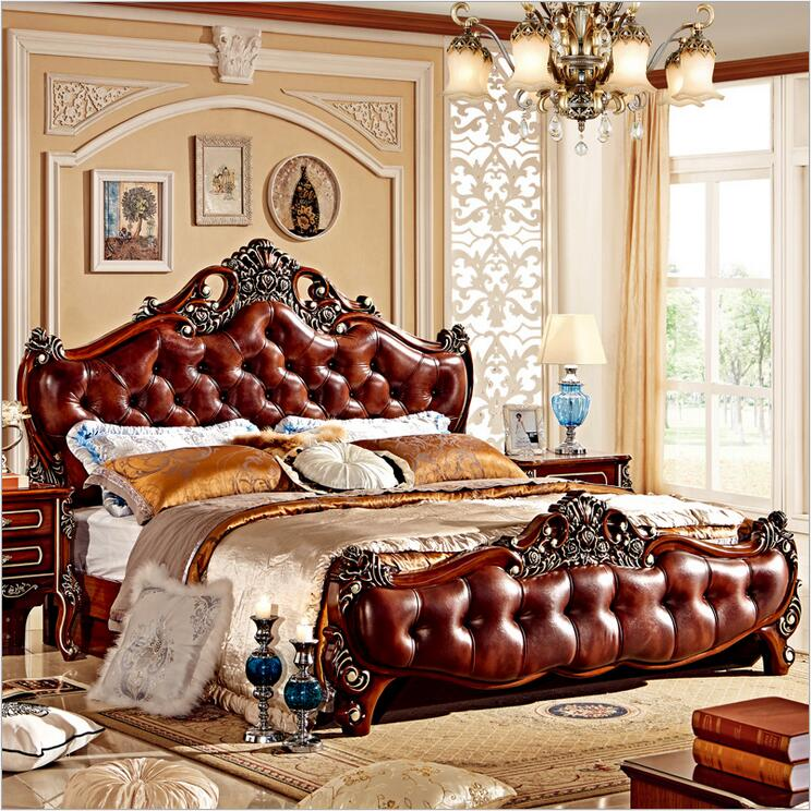 modern european solid wood bed Fashion Carved leather french bedroom furniture 10000 nordic leather modern minimalist solid wood leather bed double marriage master bedroom storage bed