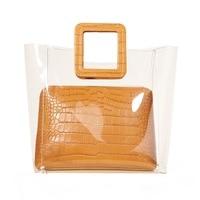 Jollque 2018 Ins Hot Clear Transparent PVC Bag Women Handbag Summer Beach Bags Lock Saffiano Tote