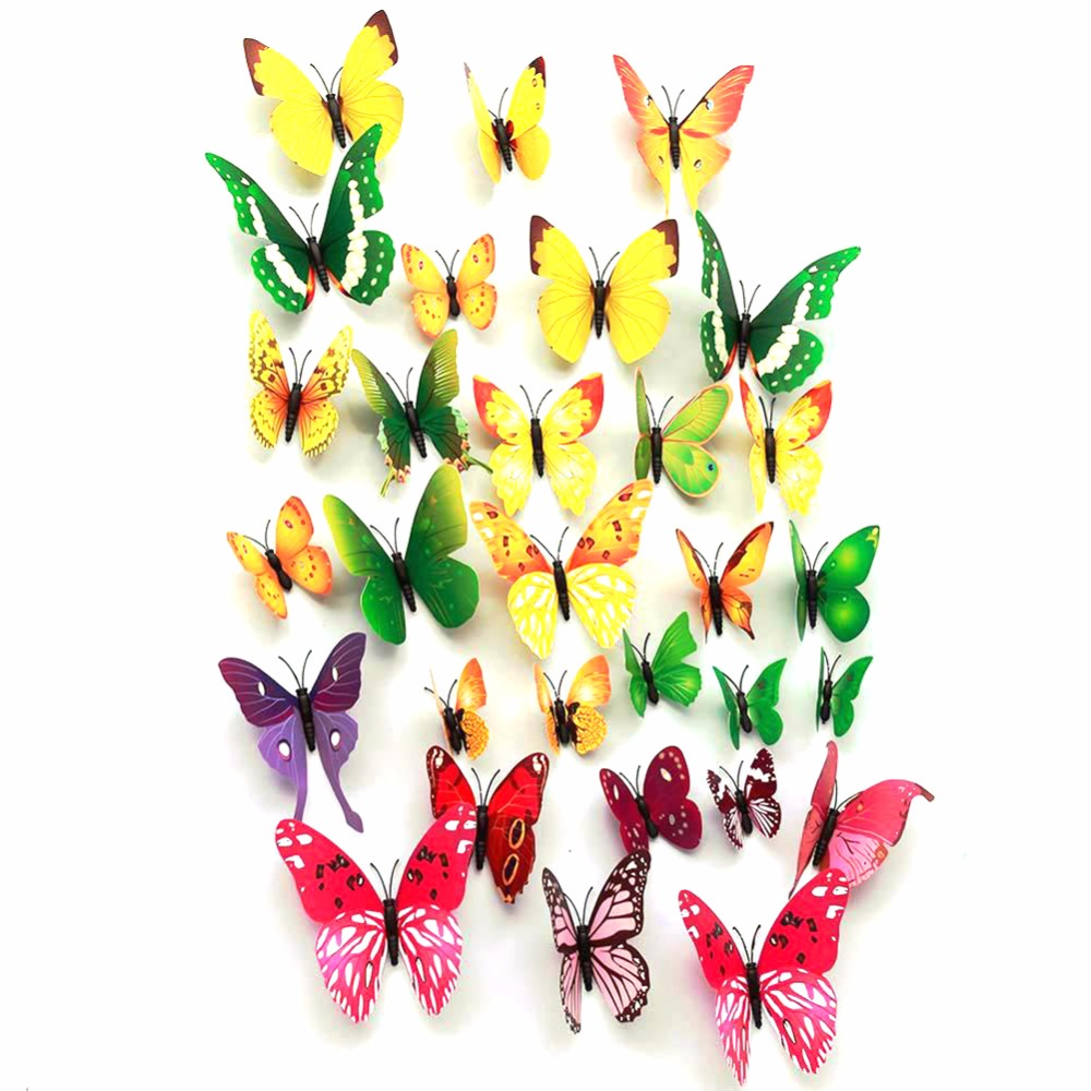 NAIYUE 12pcs PVC 3D Butterfly Wall Decor Cute Magnet Butterflies ...