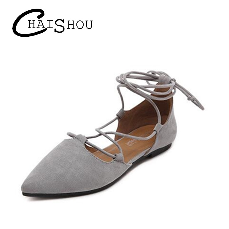2018 New Spring Summer Flats Shoes Women Leather Pointed Toe Cross Tie Ballet Flat Heel Casual Daily Shoes Summer Sandals u021