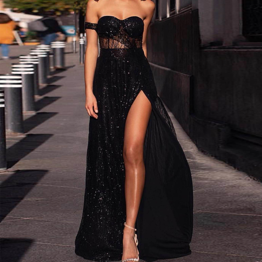Missord 2019 Women Sexy Off Shoulder glitter Dresses Female High Split Maxi Elegant Backless Dress FT19526