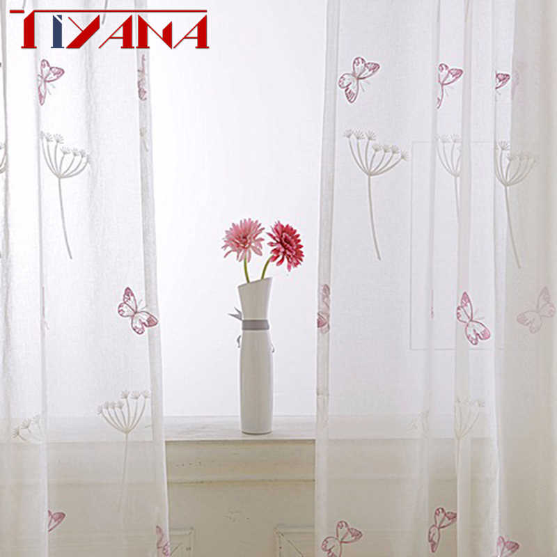Pink Butterfly Window Sheer Curtains For Living Room Embroidered Voile Tulle For Baby Girls Bedroom Yarn For Princess WP266&30