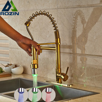 Wholesale And Retail LED Light Golden Kitchen Faucet Deck Mounted Single Lever Spring Pull Down Mixer