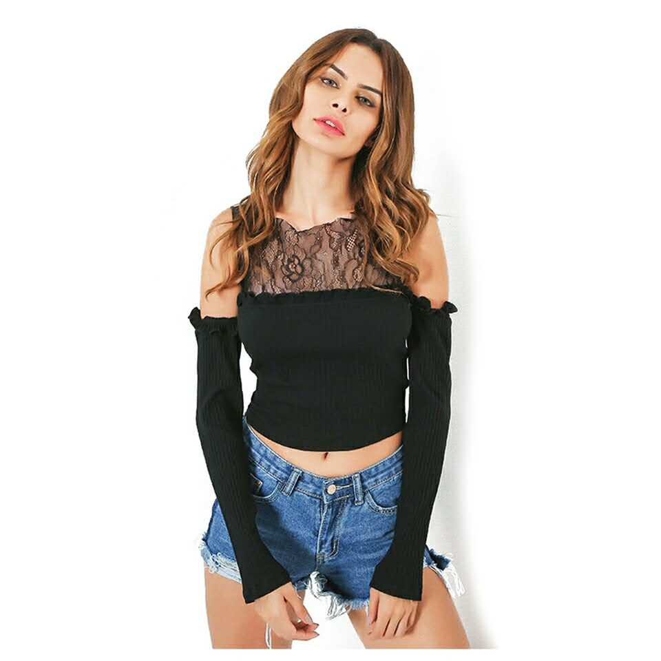 Tshirt 2018 Off Shoulder Tops For Women T Shirt Tee Shirt Femme Ruffles Ladies Black Lace Crop Top Femme Camiseta Mujer Summer