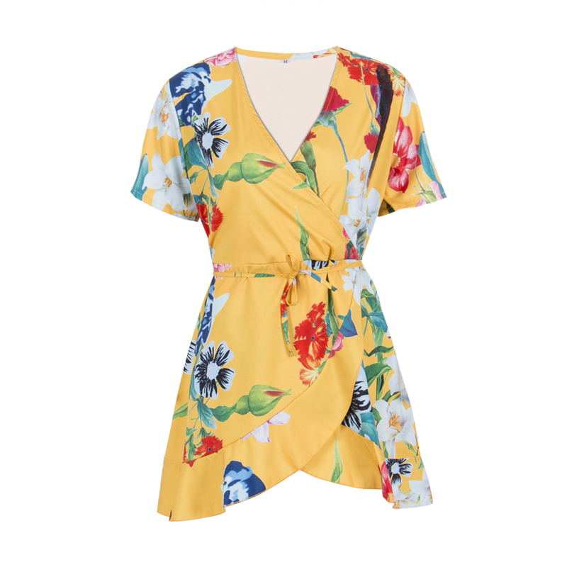 Boho Sexy Lace Up Deep V Neck Floral Print Women Playsuits Elegant Summer 2020 Rompers Short Overalls