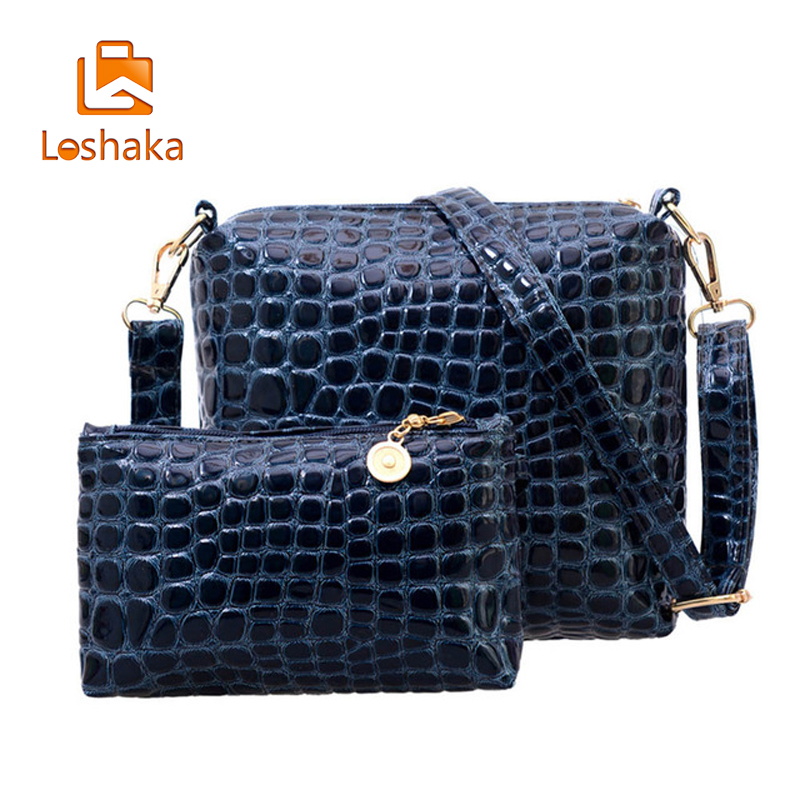 Loshaka 2PCS Bag Set Messenger Shoulder Bag Crocodile PU Leather Casual Crossbody Quilted Bags Set Clutch Composite Handbags 2pcs bag set women messenger shoulder bag solid pu leather casual crossbody quilted bags set women clutch composite handbags red