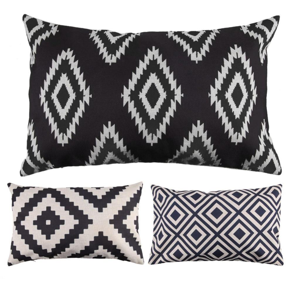 Rectangle Cushion Cover Pillows Decorative Pillowcase Linen Cotton Geometric Throw Pillow Case for Sofa Home Decor 30cm* 50cm