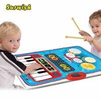 2 In 1 Mini batteriebetriebene Trommel Klavier Musikalische Touch Play matte Baby Lern Musik Teppich Kind Spielzeug Geschenk mit 2 Drumsticks