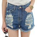 2016 Women Jeans Shorts High Waisted Denim Shorts Solid Blue Short Jeans Ripped Hole Fitness Casual bermuda feminina Hot Sale