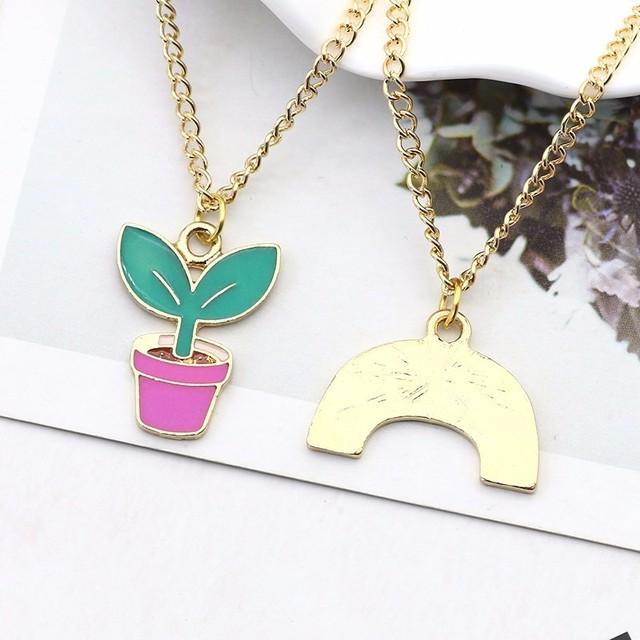 Rainbow Metal Pendant Necklace For Women