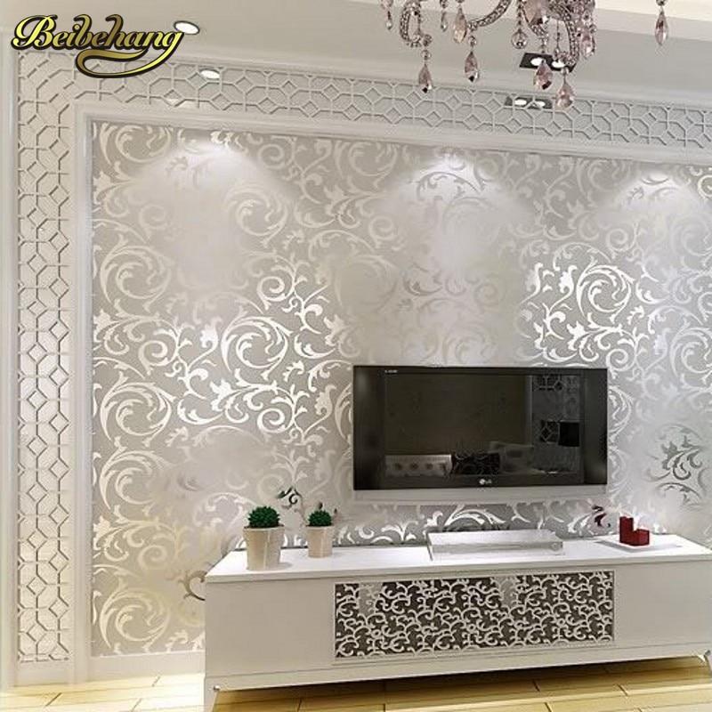 US $25.55 27% OFF|Beibehang Italienischen 3D Geprägte TV Hintergrund Tapete  Für Wohnzimmer Silber Und Grau Gestreiften Wand papier Rolle TV Desktop ...